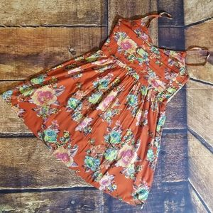 Roxy floral rouched back dress. Size large